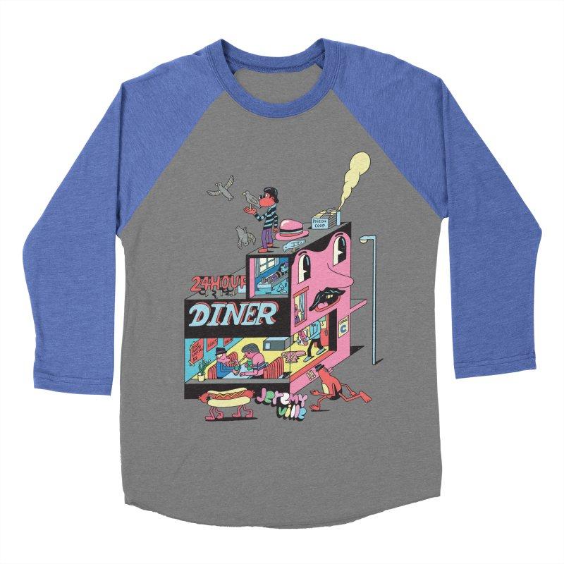 24 Hour Diner Women's Baseball Triblend T-Shirt by Jeremyville's Artist Shop