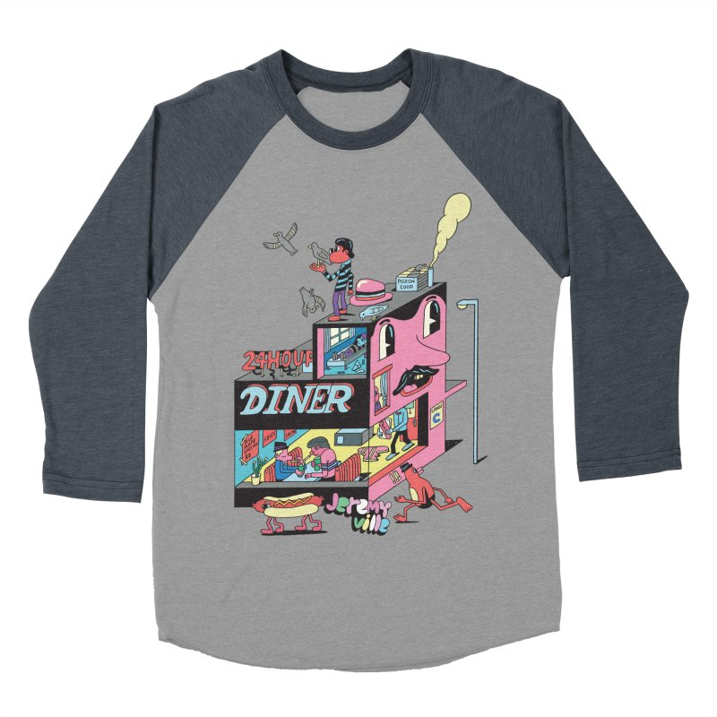 24 Hour Diner Men's Baseball Triblend Longsleeve T-Shirt by Jeremyville