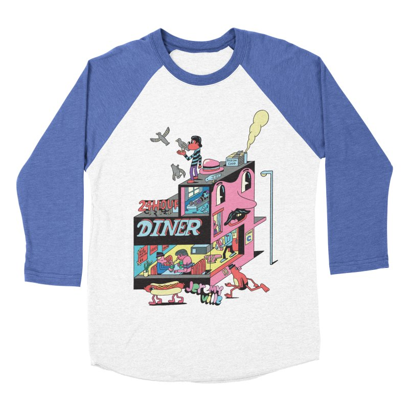 24 Hour Diner Men's Baseball Triblend T-Shirt by Jeremyville's Artist Shop