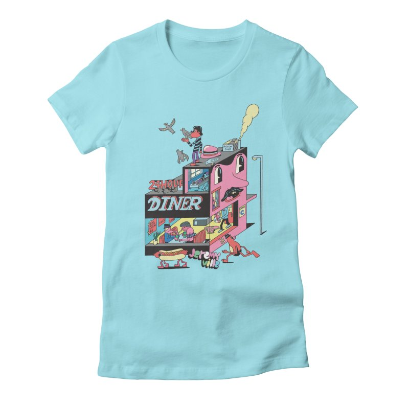 24 Hour Diner Women's Fitted T-Shirt by Jeremyville's Artist Shop