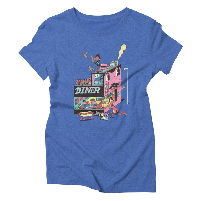24 Hour Diner Women's Triblend T-Shirt by Jeremyville's Artist Shop