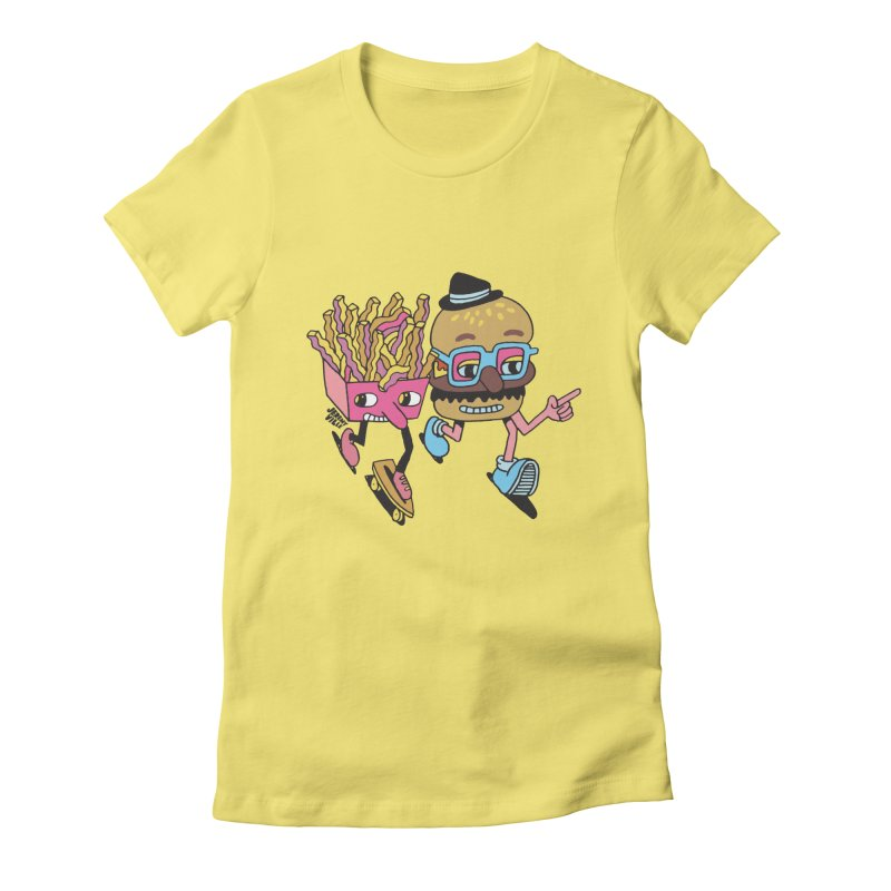 Burger and Fries Women's Fitted T-Shirt by Jeremyville's Artist Shop