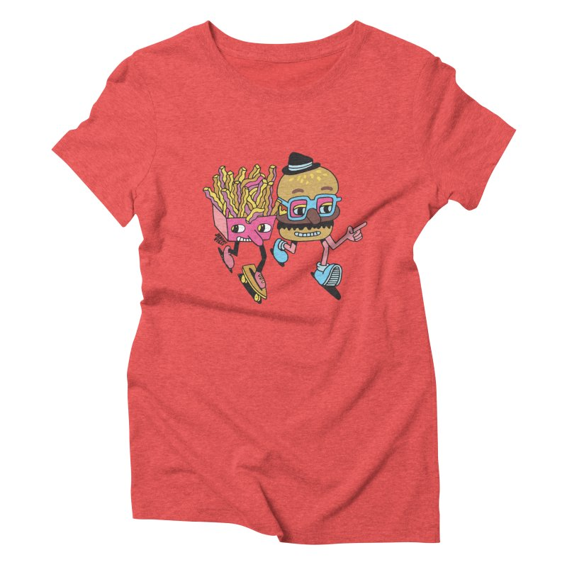 Burger and Fries Women's Triblend T-Shirt by Jeremyville's Artist Shop