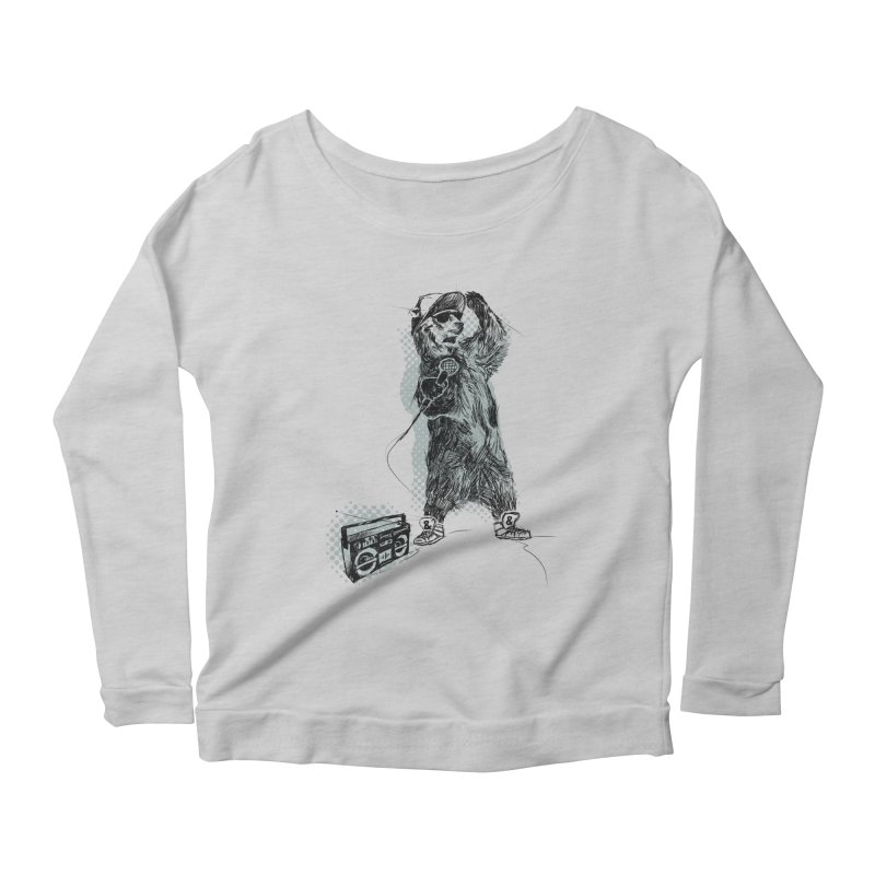 MC Grizzly Women's Longsleeve Scoopneck  by Jimbanzee's Artist Shop