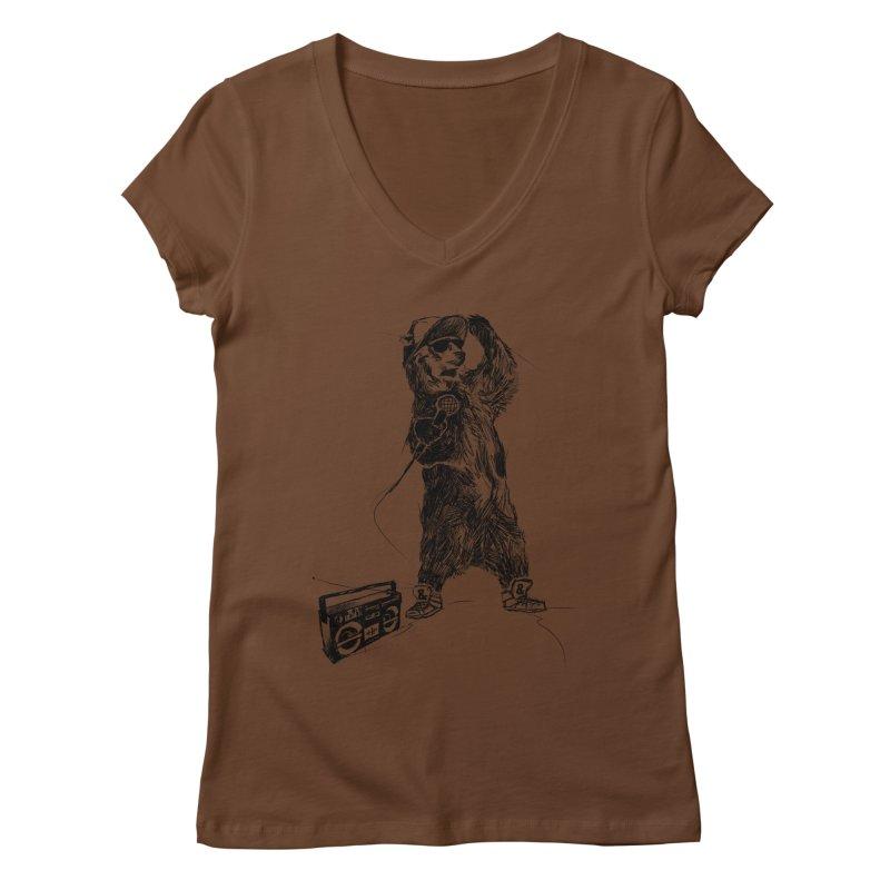 MC Grizzly Women's V-Neck by Jimbanzee's Artist Shop