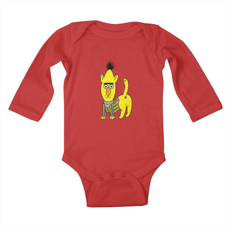 Bert's cat ass Kids Baby Longsleeve Bodysuit by Jim Tozzi