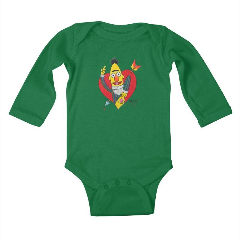 Bert's tit cupid Kids Baby Longsleeve Bodysuit by Jim Tozzi