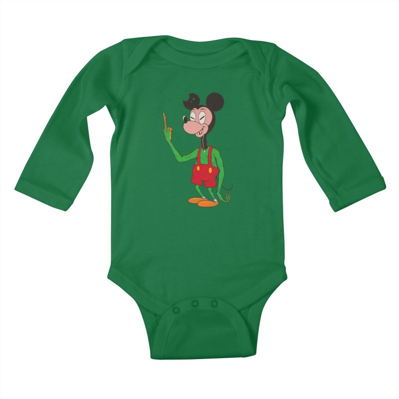flippin mouse Kids Baby Longsleeve Bodysuit by Jim Tozzi
