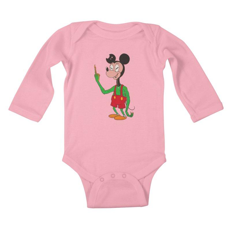 flippin mouse Kids Baby Longsleeve Bodysuit by Jim Tozzi