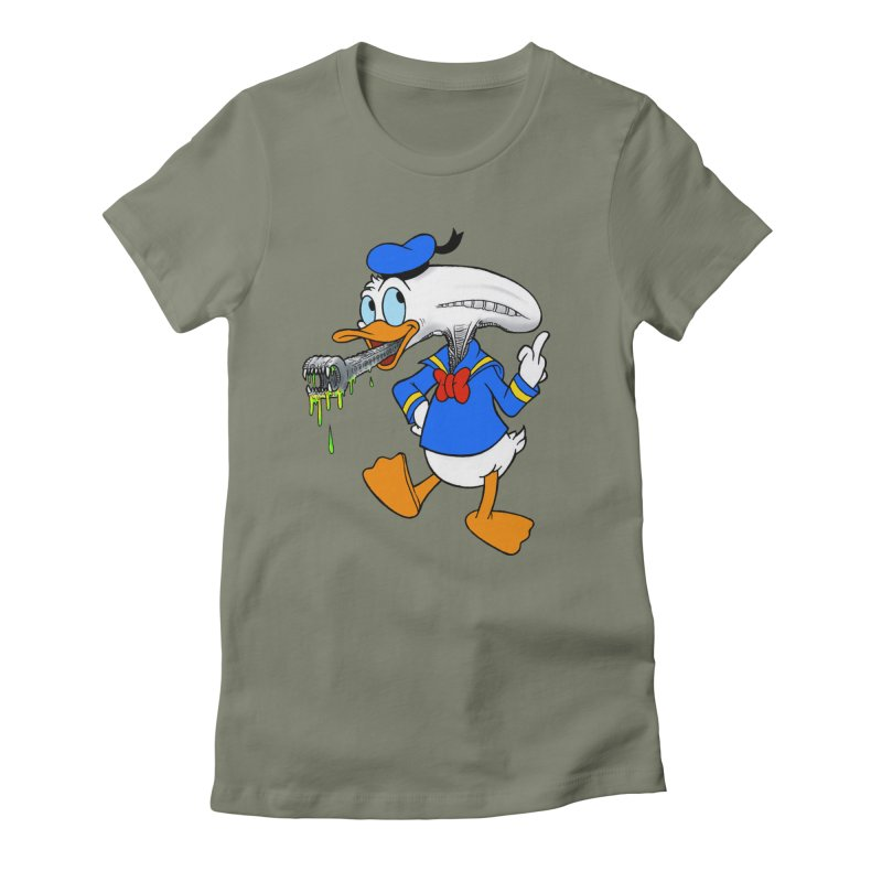 ALIENDUCK Women's Fitted T-Shirt by Jim Tozzi