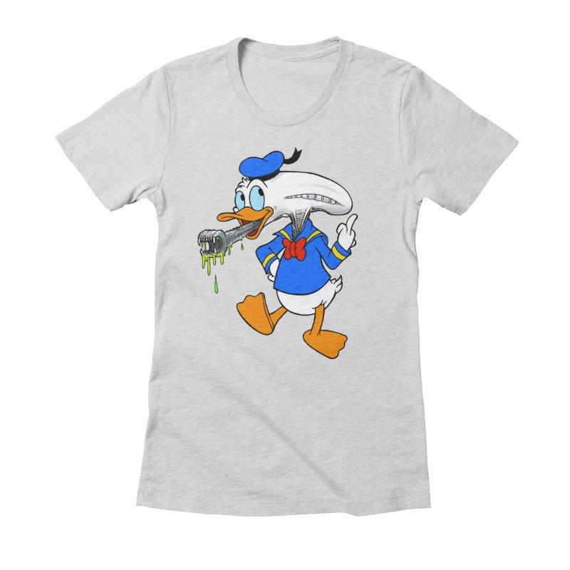 ALIENDUCK Women's Fitted T-Shirt by Jim Tozzi