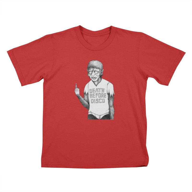 DEATH BEFORE DISCO Kids T-Shirt by Jim Tozzi