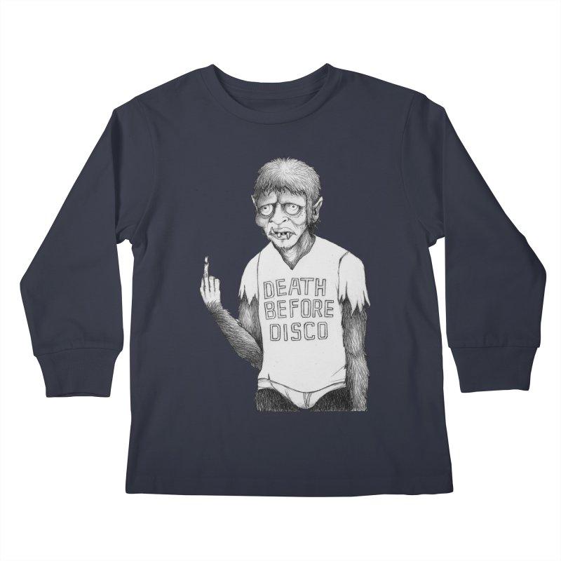DEATH BEFORE DISCO Kids Longsleeve T-Shirt by Jim Tozzi