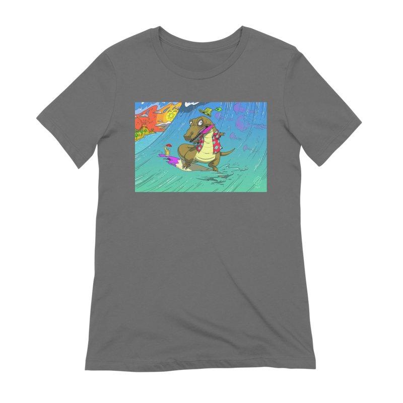 Hawaiian Dinosaur Women's T-Shirt by JoeMarrcinekBand's Artist Shop