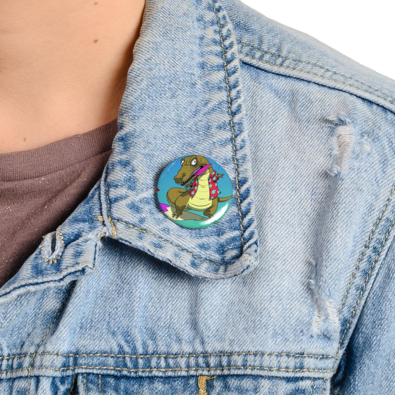 Hawaiian Dinosaur Accessories Button by JoeMarrcinekBand's Artist Shop
