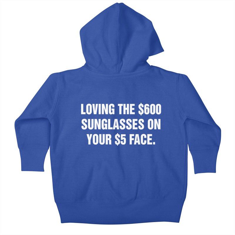 "SIDE EYE/""Five Dollar Face"" (White) Kids Baby Zip-Up Hoody by Josh Sabarra's Shop"