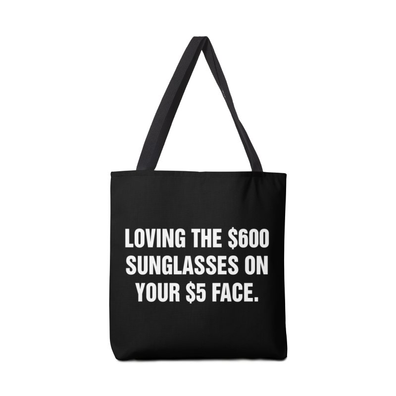 "SIDE EYE/""Five Dollar Face"" (White) Accessories Tote Bag Bag by Josh Sabarra's Shop"