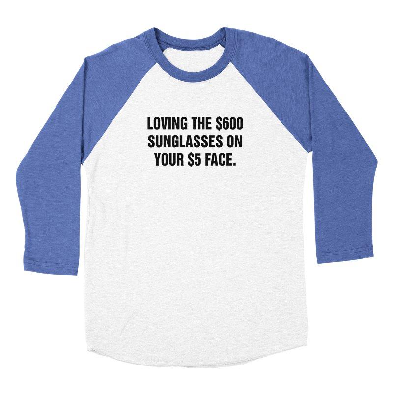"SIDE EYE/""Five Dollar Face"" (Black) Men's Baseball Triblend Longsleeve T-Shirt by Josh Sabarra's Shop"