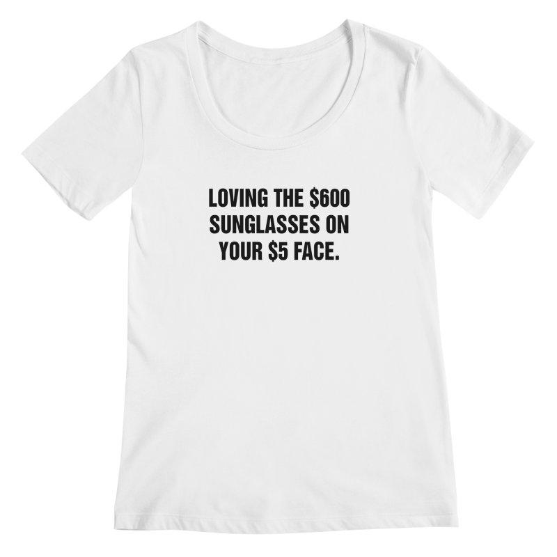 "SIDE EYE/""Five Dollar Face"" (Black) Women's Regular Scoop Neck by Josh Sabarra's Shop"