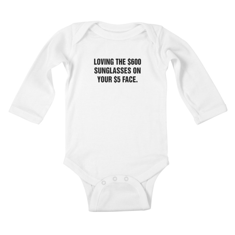 "SIDE EYE/""Five Dollar Face"" (Black) Kids Baby Longsleeve Bodysuit by Josh Sabarra's Shop"