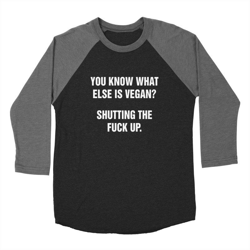 "SIDE EYE/""What Else Is Vegan?"" (White) Women's Baseball Triblend Longsleeve T-Shirt by Josh Sabarra's Shop"