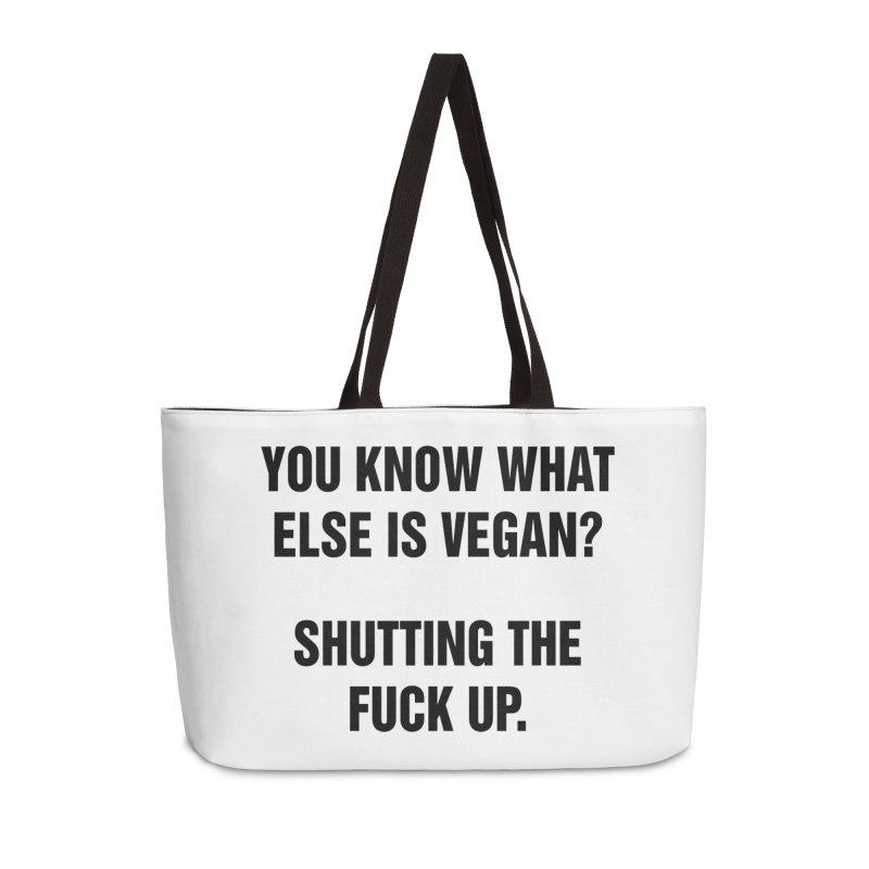 """SIDE EYE/""""What Else Is Vegan"""" (Black) Accessories Weekender Bag Bag by Josh Sabarra's Shop"""