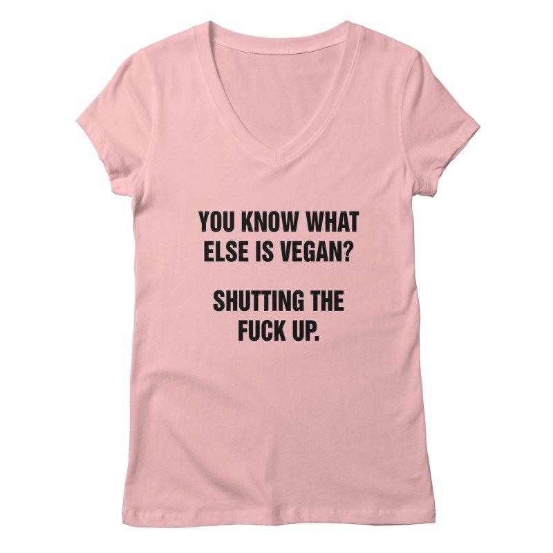 "SIDE EYE/""What Else Is Vegan"" (Black) Women's Regular V-Neck by Josh Sabarra's Shop"