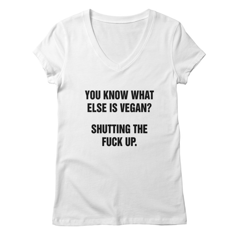 "SIDE EYE/""What Else Is Vegan"" (Black) Women's Regular V-Neck by Josh Sabarra's Shop"