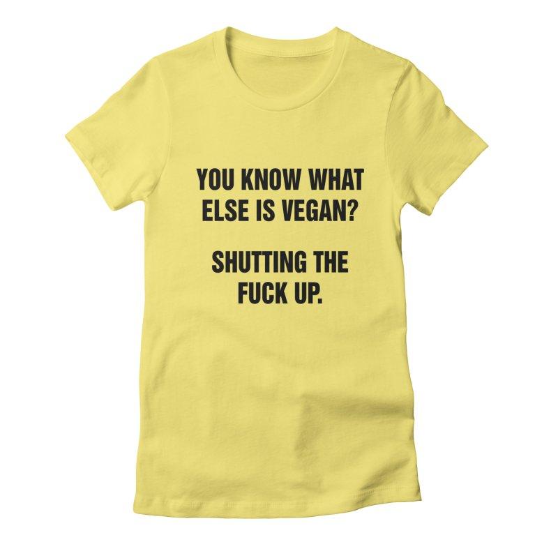 "SIDE EYE/""What Else Is Vegan"" (Black) Women's Fitted T-Shirt by Josh Sabarra's Shop"