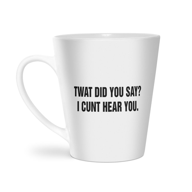 "SIDE EYE/""Twat?"" (Black) Accessories Latte Mug by Josh Sabarra's Shop"