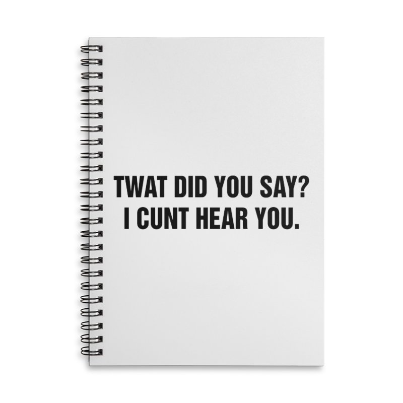 "SIDE EYE/""Twat?"" (Black) Accessories Lined Spiral Notebook by Josh Sabarra's Shop"