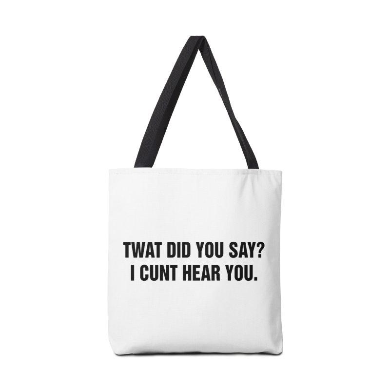 "SIDE EYE/""Twat?"" (Black) Accessories Tote Bag Bag by Josh Sabarra's Shop"