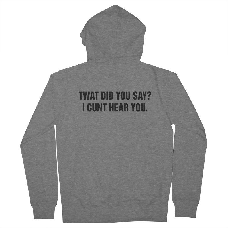 "SIDE EYE/""Twat?"" (Black) Men's French Terry Zip-Up Hoody by Josh Sabarra's Shop"
