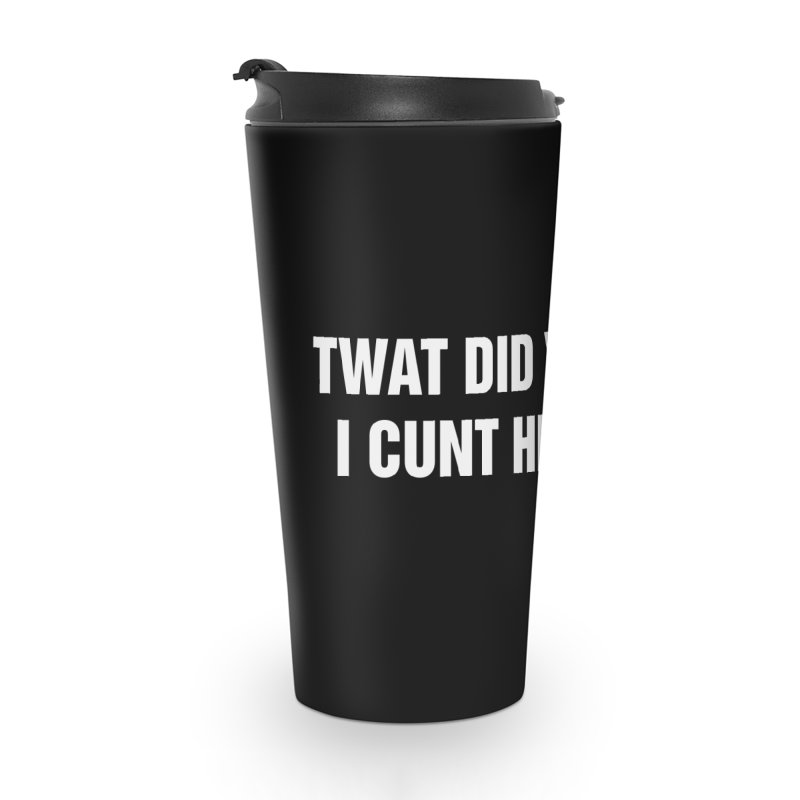 "SIDE EYE/""Twat?"" (White) Accessories Travel Mug by Josh Sabarra's Shop"
