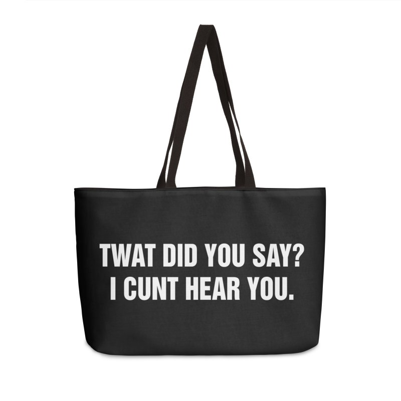 "SIDE EYE/""Twat?"" (White) Accessories Weekender Bag Bag by Josh Sabarra's Shop"