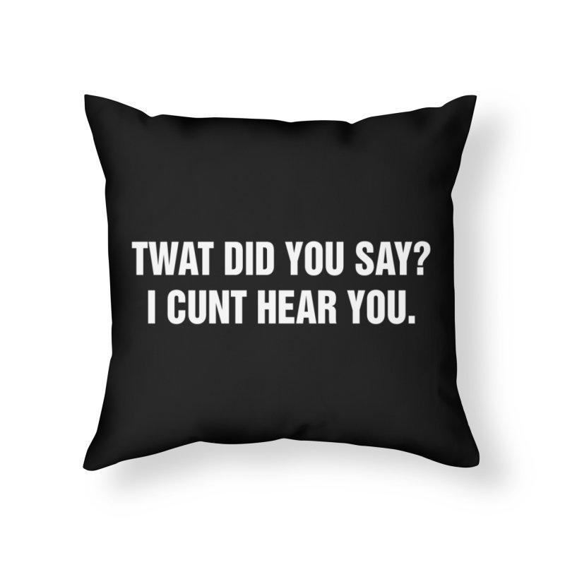 "SIDE EYE/""Twat?"" (White) Home Throw Pillow by Josh Sabarra's Shop"