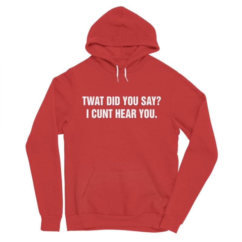 """SIDE EYE/""""Twat?"""" (White) Men's Sponge Fleece Pullover Hoody by Josh Sabarra's Shop"""