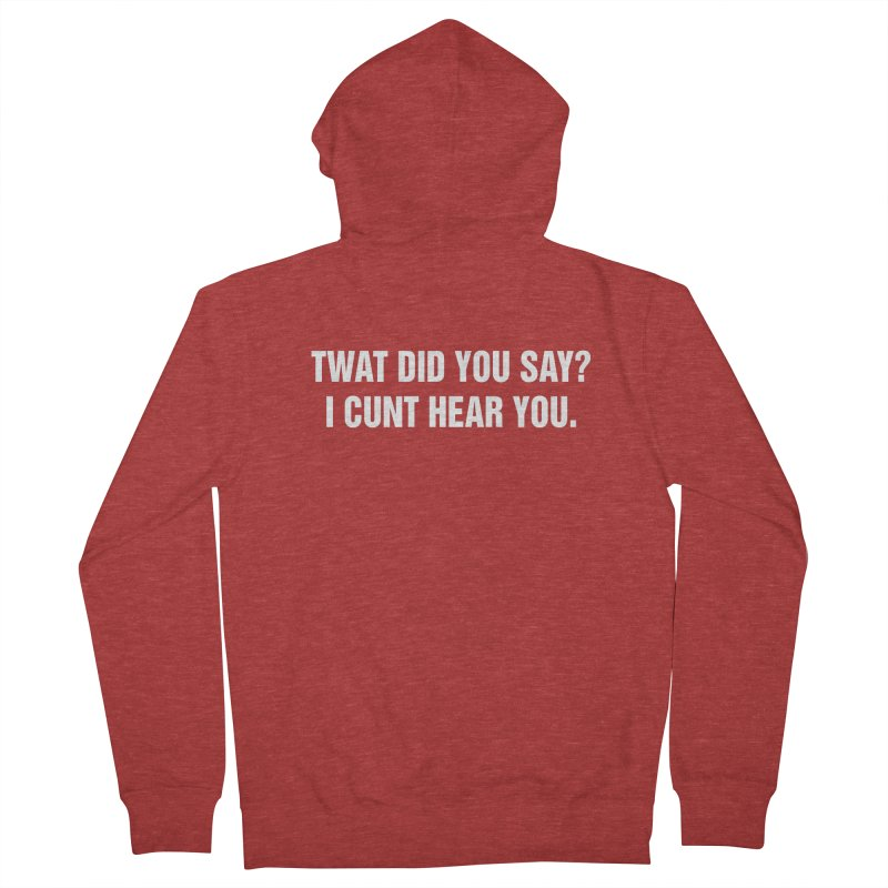 "SIDE EYE/""Twat?"" (White) Women's French Terry Zip-Up Hoody by Josh Sabarra's Shop"