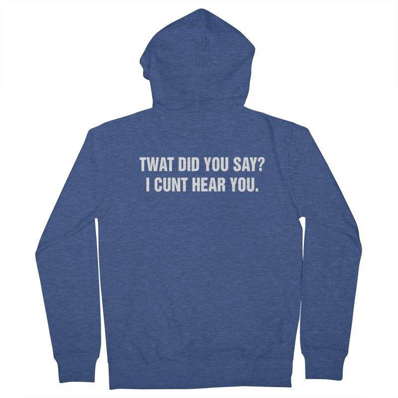 "SIDE EYE/""Twat?"" (White) Men's French Terry Zip-Up Hoody by Josh Sabarra's Shop"