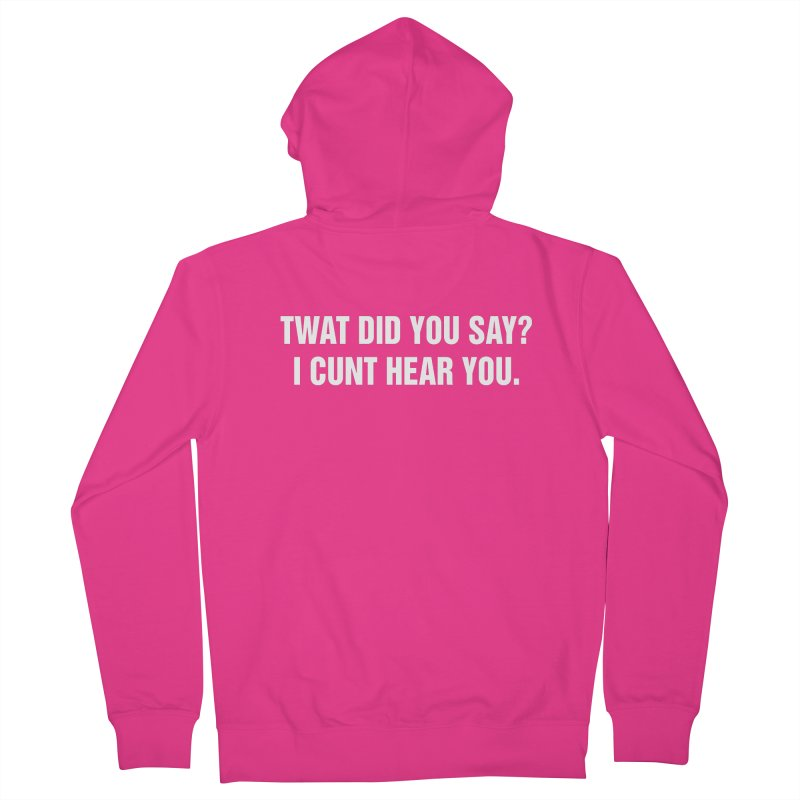 "SIDE EYE/""Twat?"" (White) Men's French Terry Zip-Up Hoody by Josh Sabarra's Shop"