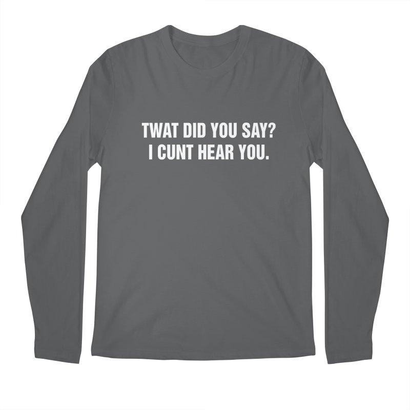 "SIDE EYE/""Twat?"" (White) Men's Regular Longsleeve T-Shirt by Josh Sabarra's Shop"