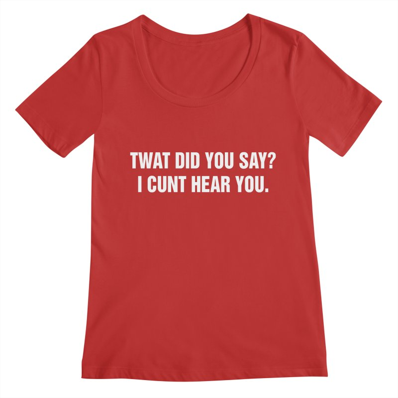 "SIDE EYE/""Twat?"" (White) Women's Regular Scoop Neck by Josh Sabarra's Shop"