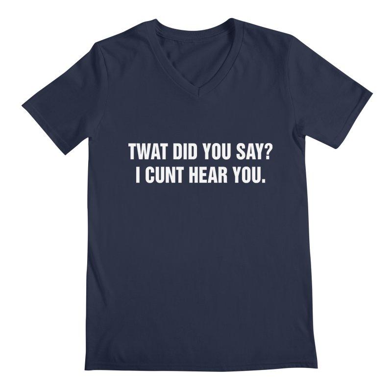 "SIDE EYE/""Twat?"" (White) Men's Regular V-Neck by Josh Sabarra's Shop"