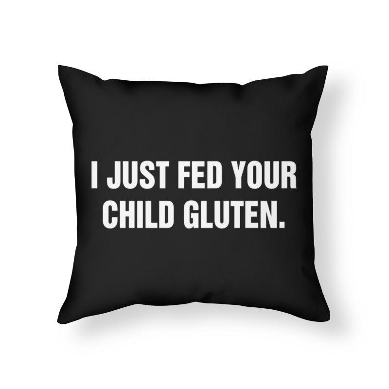 "SIDE EYE/""Gluten"" (White) Home Throw Pillow by Josh Sabarra's Shop"