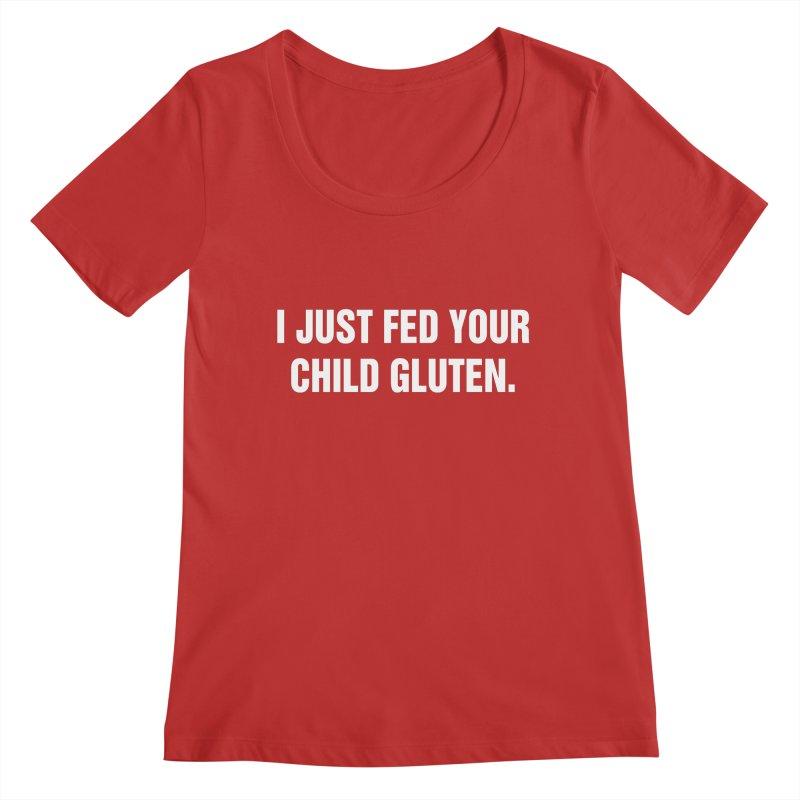 """SIDE EYE/""""Gluten"""" (White) Women's Regular Scoop Neck by Josh Sabarra's Shop"""