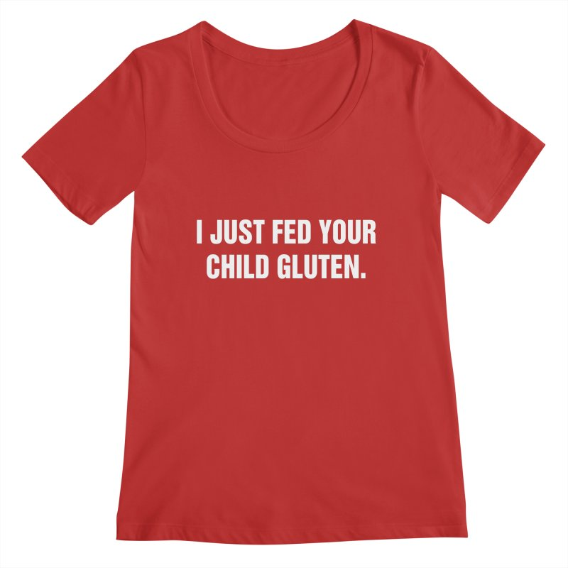 "SIDE EYE/""Gluten"" (White) Women's Regular Scoop Neck by Josh Sabarra's Shop"