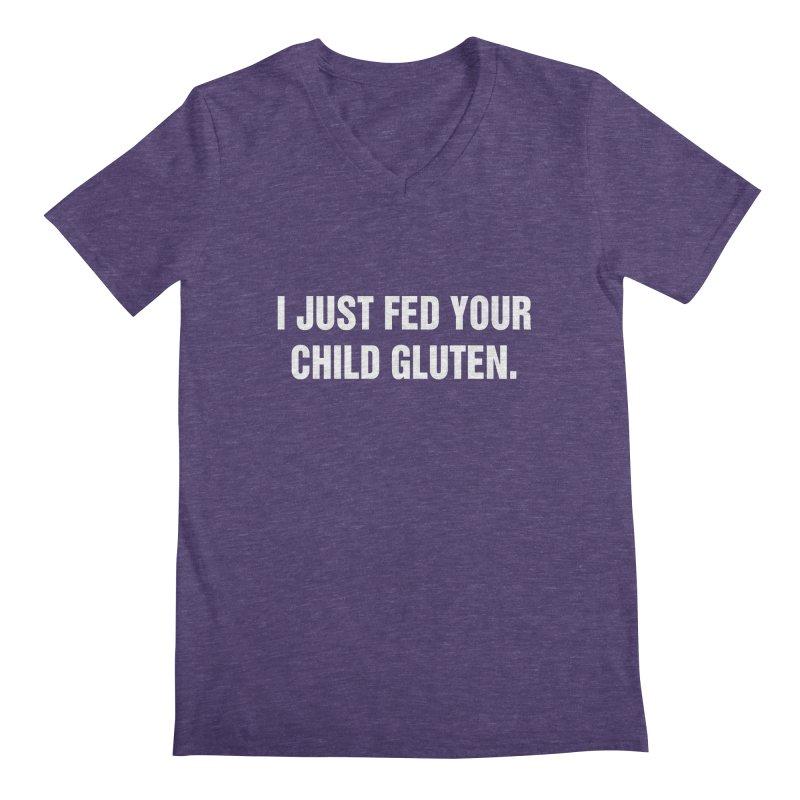 "SIDE EYE/""Gluten"" (White) Men's Regular V-Neck by Josh Sabarra's Shop"