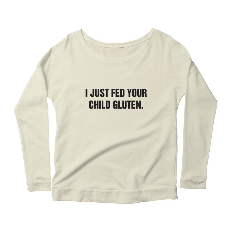 """SIDE EYE/""""Gluten"""" (Black) Women's Scoop Neck Longsleeve T-Shirt by Josh Sabarra's Shop"""