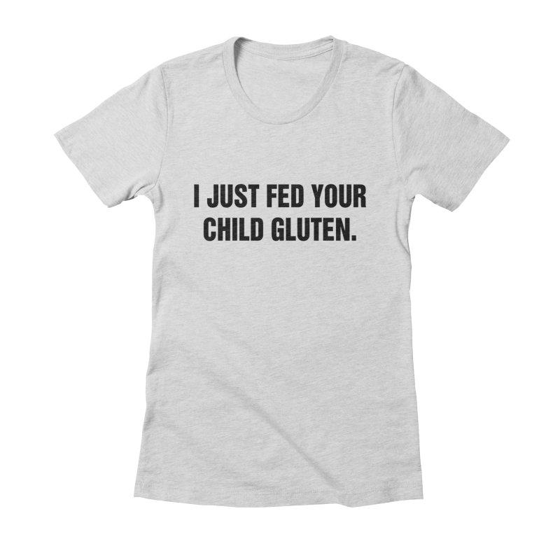 "SIDE EYE/""Gluten"" (Black) Women's Fitted T-Shirt by Josh Sabarra's Shop"