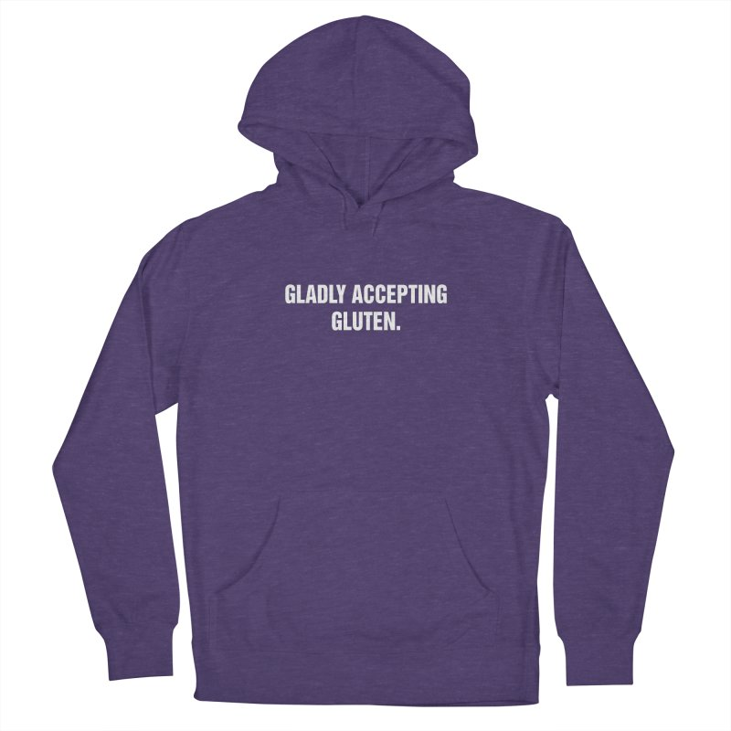 """SIDE EYE/""""Accepting Gluten"""" (White) Women's French Terry Pullover Hoody by Josh Sabarra's Shop"""